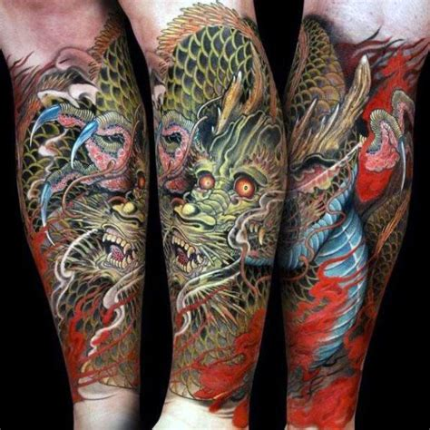 dragon calf tattoo designs guys forearm sleeve designs t