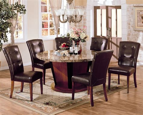 Bologna Brown Marble Top Round Dining Table Set Pu Leather Marble Top Dining Room Table Sets