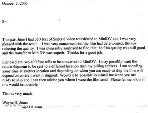 Transfer Thank You Letter Unsolicited Customer Testimonials