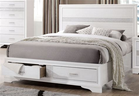 white platform bed queen miranda white queen storage platform bed 205111q coaster furniture