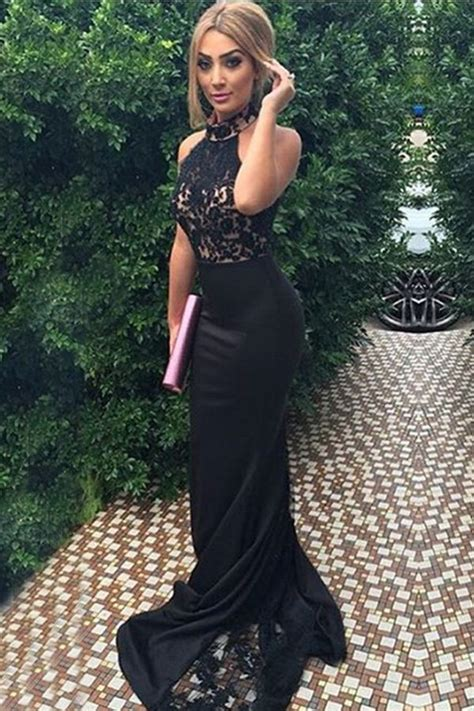 elegant high neck sleeveless sweep train appliques black