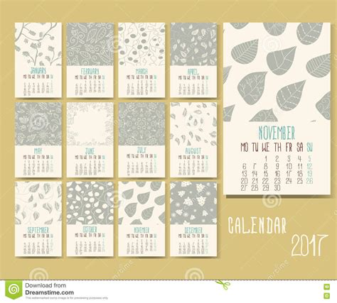 doodle calendar invite vector calendar for 2017 stock illustration image of