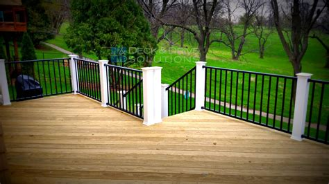 How To Build A Banister Railing Treated Deck With Black Westbury Railing And White Posts