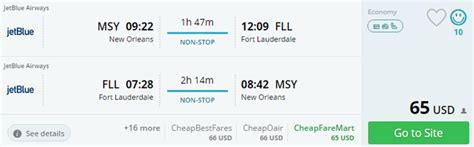 non stop from new orleans to fort lauderdale and vice versa for only 65