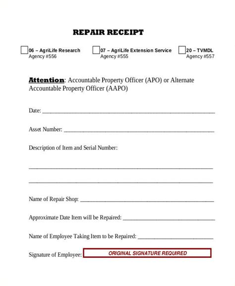 repair receipt template repair receipt templates 7 free word pdf excel format