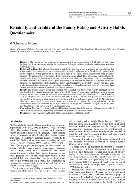 eating pattern quiz reliability and validity of the family pdf download