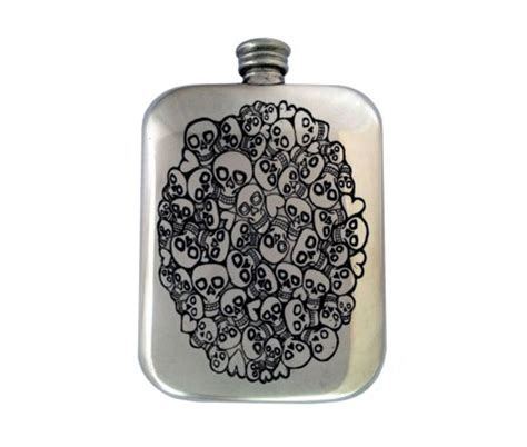 Handmade Hip Flask - handmade skull hip flask with free engraving and gift box