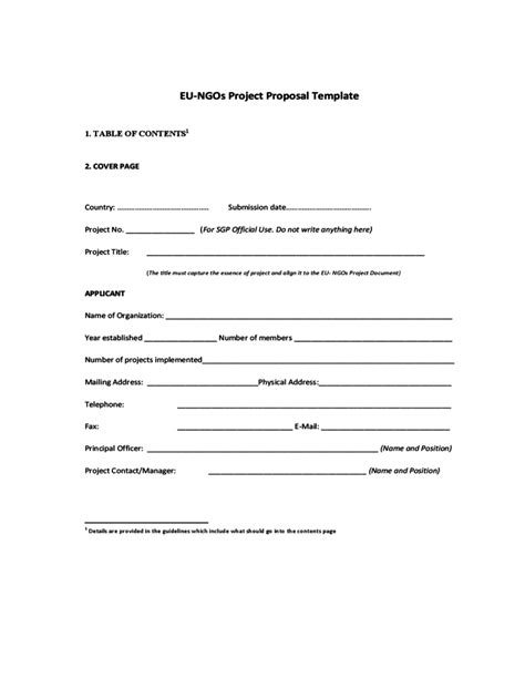 proposal format ngo proposal format for ngo project 20 free project proposal