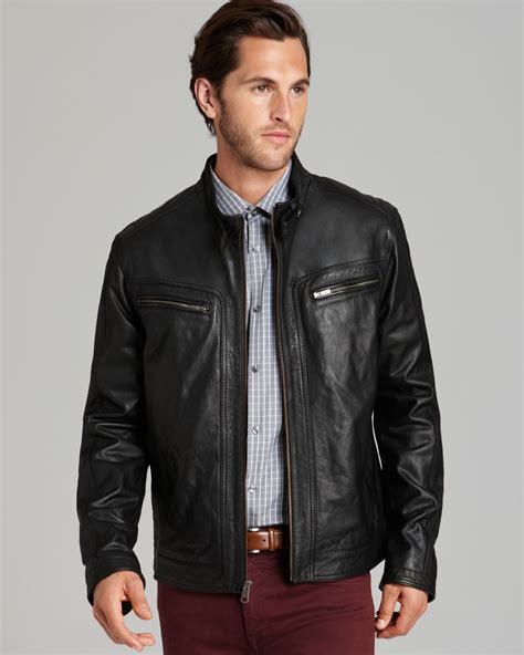 black moto jacket lyst cole haan washed leather moto jacket in black for men