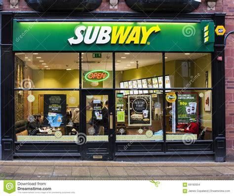 cuisine shop subway sandwich shop front editorial stock image image of
