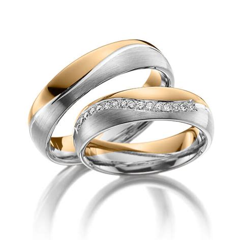 Trauringe Rosegold by Trauringe Ros 233 Gold 585 Graugold 585 Mit 0 16 Ct Tw Si