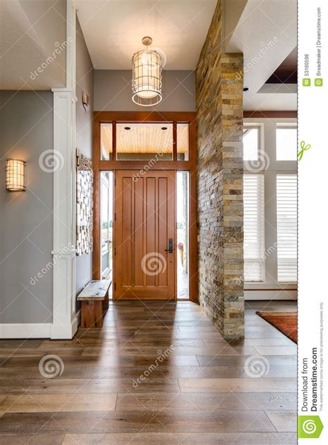 entryway foyer in new luxury home stock photo image