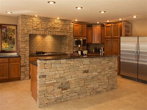 Stone Kitchen Island by Peerless Stone Faced Kitchen Island With Natural Stone
