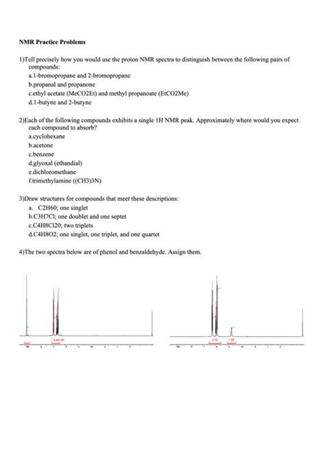 proton nmr practice problems nmr practice problems worksheet printable pdf