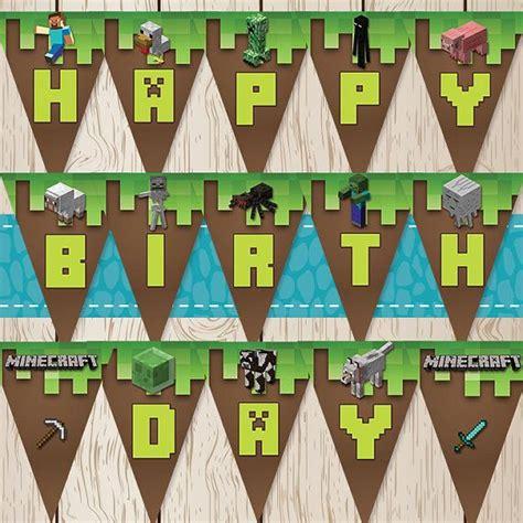 printable happy birthday minecraft banner printable minecraft birthday banner for a minecraft themed
