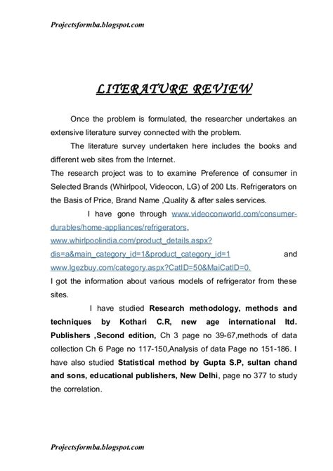 sle of a literature review in a research paper a project report on consumer preferences in selected