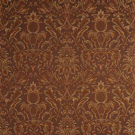 Drapery Fabrics F551 Brown Bronze Gold Ivory Pineapple Upholstery Drapery