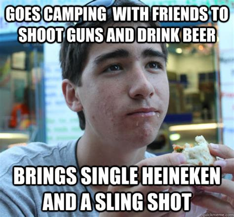 Heineken Meme - goes cing with friends to shoot guns and drink beer