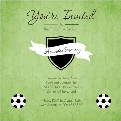 Award Recipient Invitation Letter Green Shield Soccer Award Ceremony Invitation