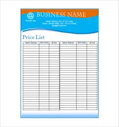 Blank Price List Template Price List Template 19 Free Word Excel Pdf Psd