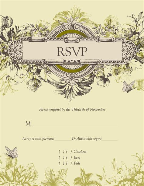 Vintage Wedding Cards Templates by Vintage Wedding Response Card