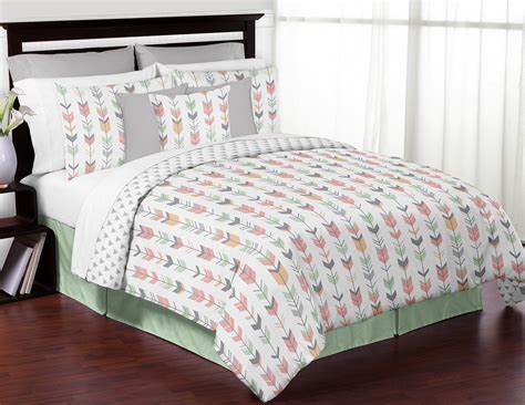 mint and grey bedding mint gray coral white queen full rustic woodland arrow bed