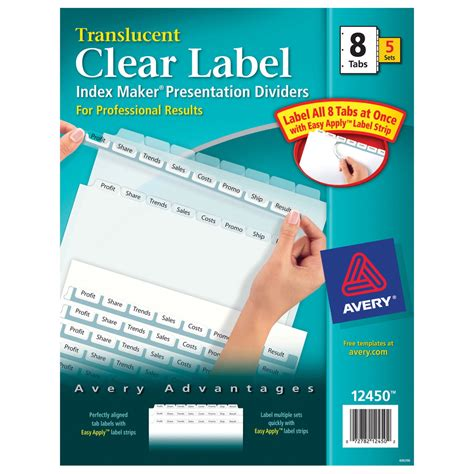 Label Divider School Specialty Marketplace Avery Easy Apply Label Sheet 8 Tab Template