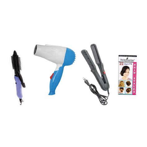 Combo Of Hair Dryer And Straightener style maniac combo of hair straightener hair curler 16b