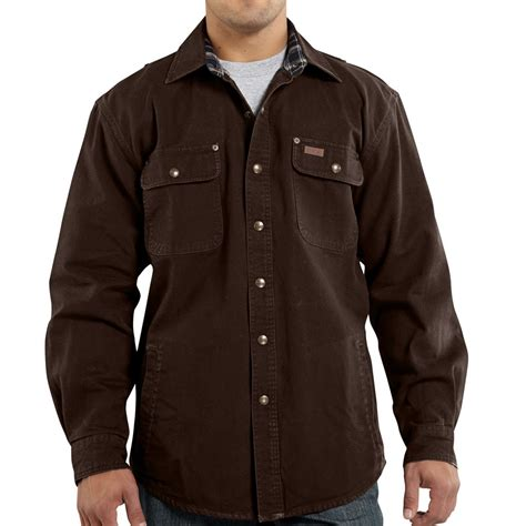 Jaket Canvas Brown Hoodie carhartt weathered canvas shirt jacket for
