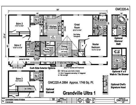 commodore homes floor plans grandville le modular ranch grandville ultra 1 gmc220a