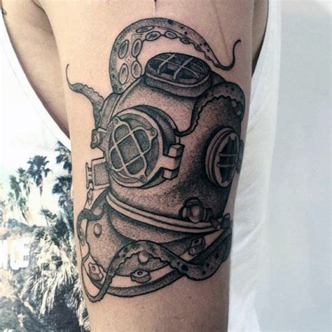 diving helmet tattoo 60 diving helmet designs for sea ideas