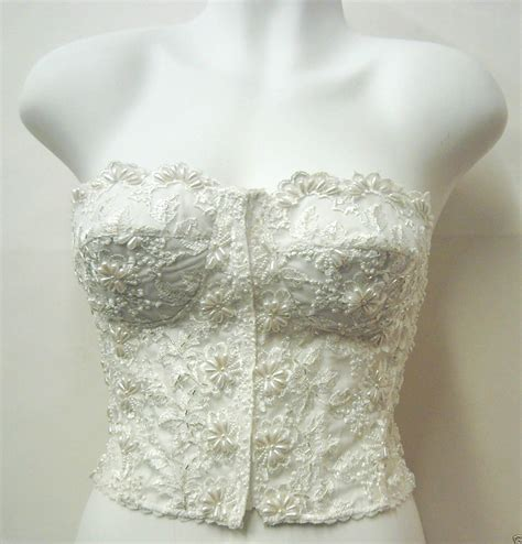 Pearl Beaded Lace Corset Bustier Top Blouse IVORY Bridal