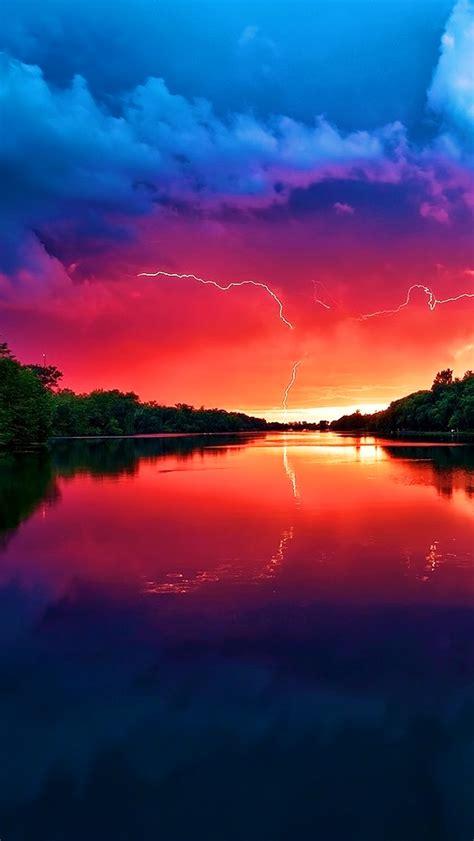 lightning sunset river iphone wallpaper cool backgrounds