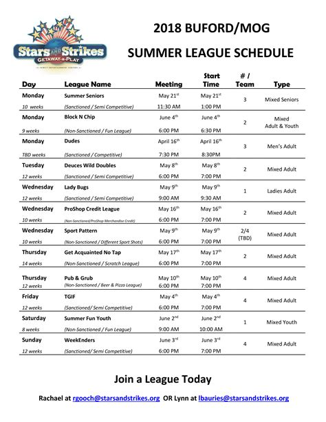 Bowling Leagues Stars And Strikes In Atlanta Georgia League Schedule Template