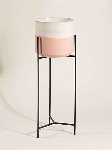 abuo pink grey ceramic plant pot stand tall