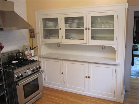 kitchen hutch with reeded glass doors traditional