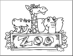 Zoo clipart coloring   Pencil and in color zoo clipart