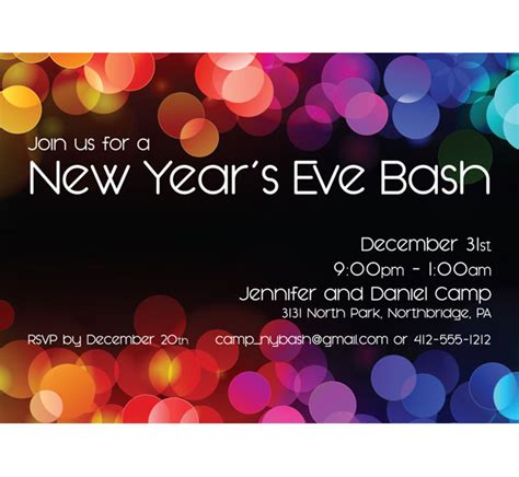 new years colors a new years colors party invitation
