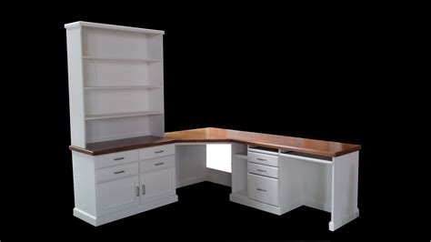 Wooden Corner Desks Furniture White Wooden Corner Desk With Hutch And Brown Wooden Top White Drawers