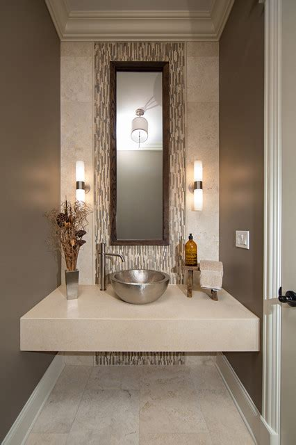 modern powder room ideas modern contemporary powder room with travertine tile