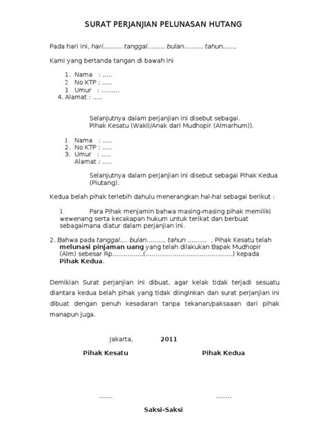 format surat kuasa utang contoh surat pernyataan hutang piutang zentoh