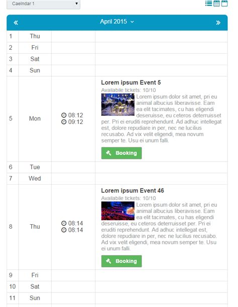 Booking Calendar Event Booking Calendar Php Script