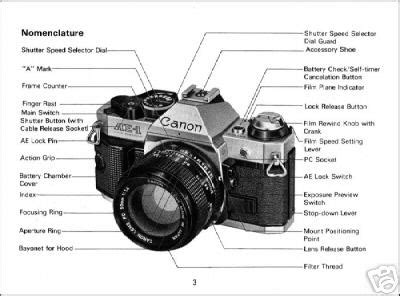 canon ae 1 program service, parts, user manuals manual for