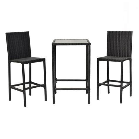 Wicker Patio Table And Chairs 3pcs Garden Patio Rattan Wicker Outdoor Dining Set Table And 2 Bar Stool Chairs Ebay