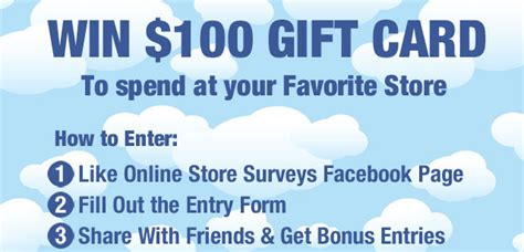 Win Gift Cards For Surveys - win 100 gift card from online store surveys