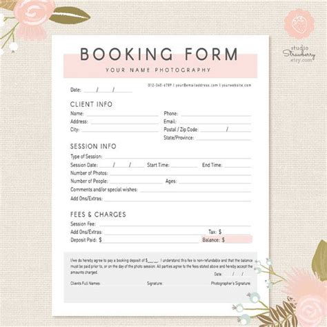 photography business forms templates photography forms client booking form for photographer