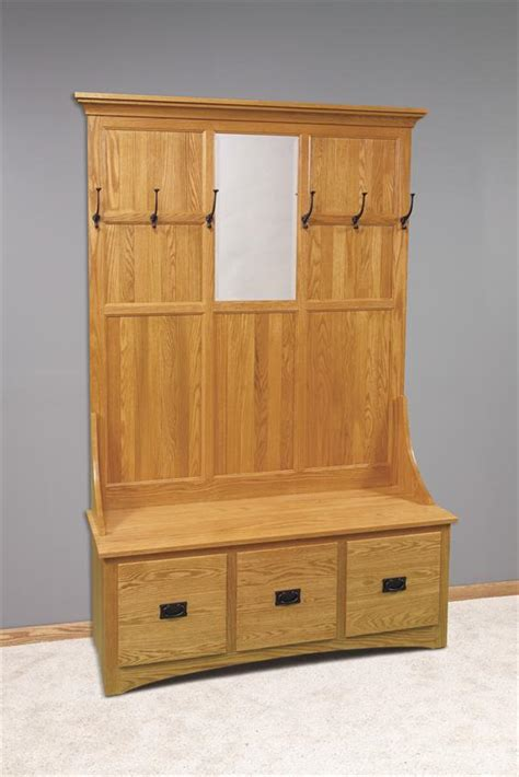 storage hall bench amish mission hall tree with storage bench 3 drawer
