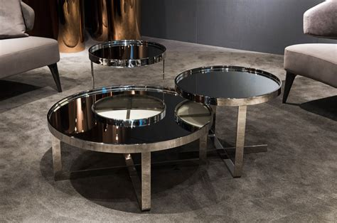 mirrored coffee table set modrest wilcox contemporary mirrored coffee table set
