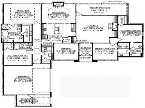 Four Family House Plans by 4 Bedroom Single Family 4 Bedroom One Story House Plans
