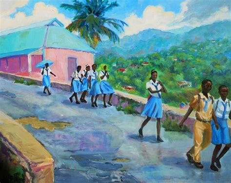 school painting school s out in jamaica by margaret plumb